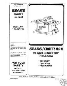 Sears-Craftsman-Table-Saw-Manual-Model-113-221740
