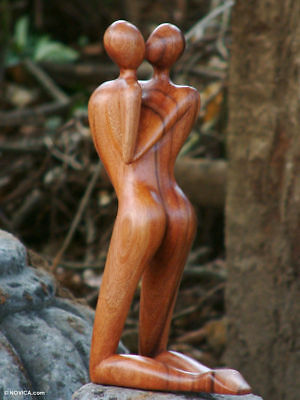 Romantic KISSING COUPLEHand carved Wood Sculpture