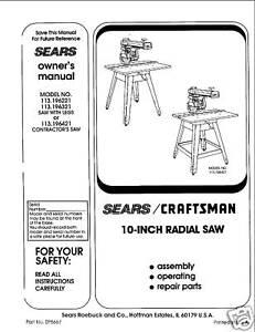 Sears-Craftsman-Radial-Arm-Saw-Manual-No-113-196321
