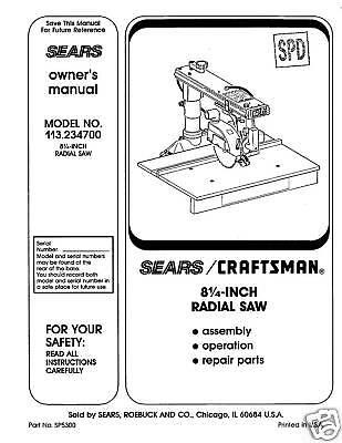 Sears-Craftsman-Radial-Arm-Saw-Manual-No-113-234700