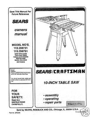 Sears-Craftsman-Table-Saw-Manual-Model-113-298761