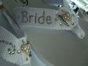 Bride wedding beach custom flip flops wedge or flat crystal wording 5