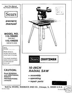 Sears-Craftsman-Radial-Arm-Saw-Manual-No-113-199200