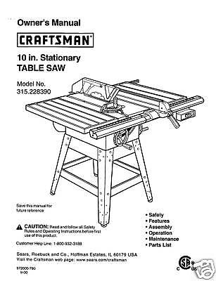 Sears-Craftsman-Table-Saw-Manual-Model-315-228390