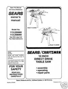 Sears-Craftsman-Table-Saw-Manual-Model-113-226880