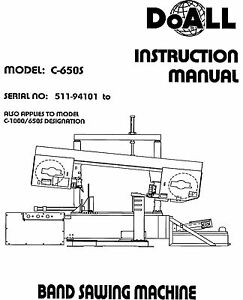 DoAll Band Saw Operators Manual Model No. C-650S and C