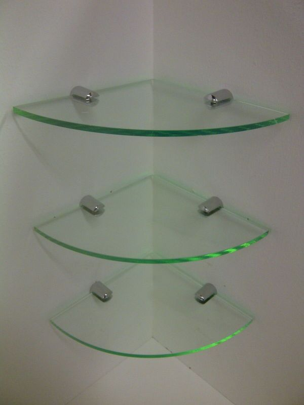 3 X Glass Effect Perspex Corner Shelf Rust Acrylic