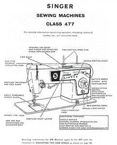 Singer Models 477 478 Sewing Machine Service Repair Manual