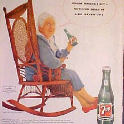 Grandma Rocking Chair Stokke High Cushion 1955 7-up Soda-pop Seven-up Bottle Chair~all Family Drink Ad | Ebay