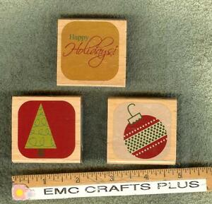 CHRISTMAS RUBBER STAMPS SET OF 3HAPPY HOLIDAYS TREE