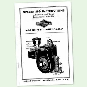 BRIGGS AND STRATTON 6-S ENGINE OPERATORS REPAIR PARTS