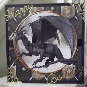 Handmade Fantasy Happy Birthday Card With A Black Dragon