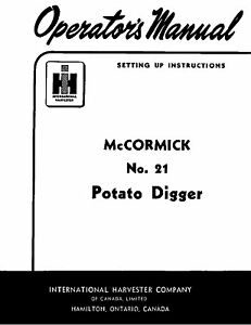 McCormick FARMALL IH Model 21 Potato Digger Owners