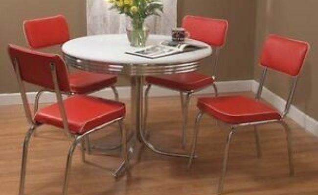 Retro 5 Piece Dining Set Round Chrome Kitchen Table 4
