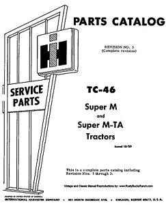 FARMALL IH Models SUPER M and SUPER MTA Parts Manual TC-46