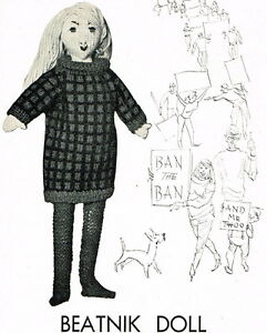 Beatnik doll vintage knitting pattern- rare,unusual,1960s