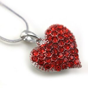 Small Love Red Heart Valentines Day Pendant Necklace