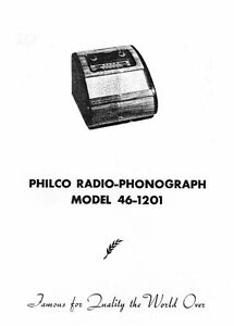 Philco Antique Radio / Phonograph 46-1201 Manual