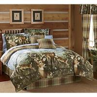 WHITETAIL DEER BUCK Cabin Hunting Lodge Plaid Earthtone ...