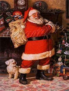 VINTAGE CHRISTMAS SANTA CLAUS BICHON FRISE DOG RAGGEDY ANN