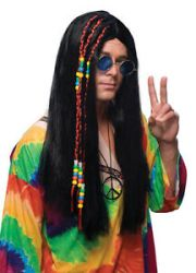 1960s long black hair wig 60s 70s