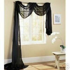 1 PC SOLID BLACK SCARF VALANCE SOFT SHEER VOILE WINDOW PANEL