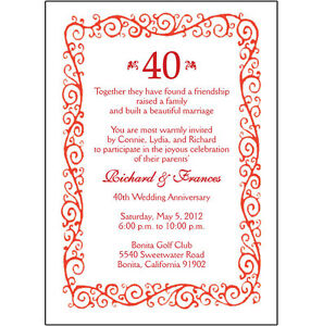 25 Personalized 40th Wedding Anniversary Party Invitations  AP002  eBay