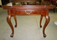 Antique Swivel Flip Top Game Table Stand Ball and Claw
