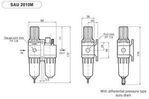 Filter Regulator Lubricator Piggy Back FRL 1/4