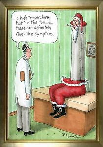 MAGNET Humor Fridge Cartoon Santa Claus Doctor Flue Stuck