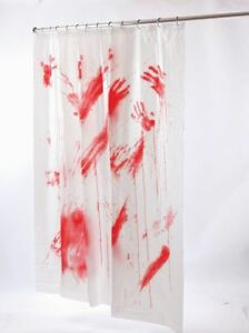 BLOOD BLOODY SHOWER CURTAIN SCARY BATES PSYCHO MOTEL CRIME SCENE