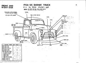 1954 55 Dodge C-1 1/2 Ton Pickup NOS Body Panel Exterior