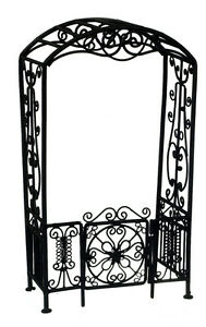 Dollhouse miniature furniture wire Arbor W/Gate/Black