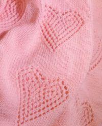 "Lacy Love Hearts Aran Baby Blanket Knitting Pattern 32"" x ..."