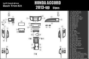 HONDA ACCORD 2013 13 Dash Trim Kit wood carbon fiber