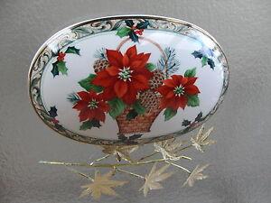 MIKASA Oval Poinsettia CHRISTMAS Candy Dish Ceramic EBay