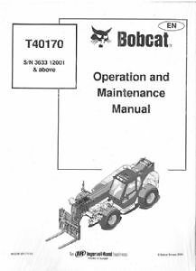 BOBCAT T40170 TELESCOPIC HANDLER OPERATORS MANUAL