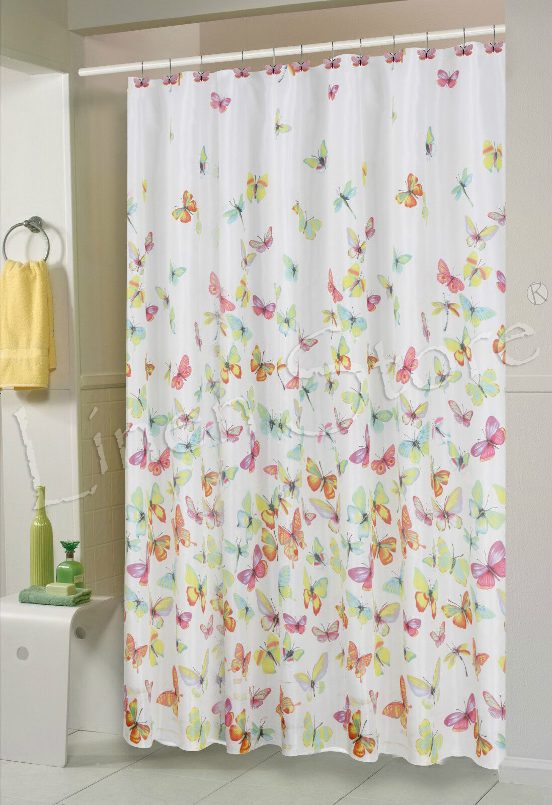 BUTTERFLY FABRIC SHOWER CURTAIN 70x70 COLORFUL BUTTERFLIES PRINTED TALIN  eBay