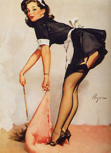 French Maid Retro Pin Up Girl Home Decor Canvas Print A4 Size 210