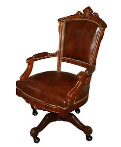 brown swivel chair folding reclining lawn chairs antique victorian in leather 1800 1899 7285 ebay image is loading