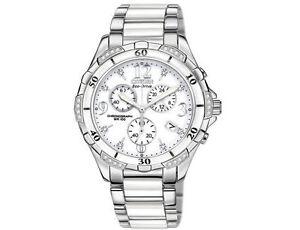 Citizen Eco-Drive Ladies Diamond White Ceramic Watch