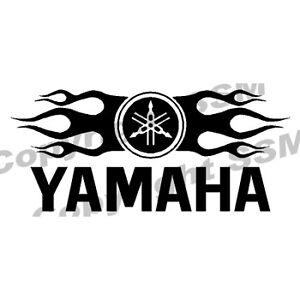 Yamaha Logo w/ Flames Vinyl Decal Sticker Rhino
