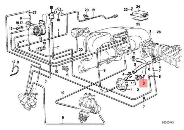 Genuine BMW E21 E28 Sedan EGR Vacuum Control Hose OEM