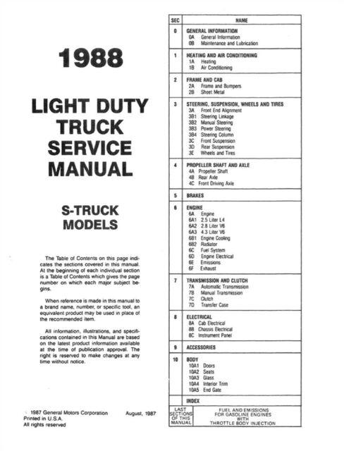 1988 Chevy S-10 S-15 Blazer Pickup Shop Service Repair