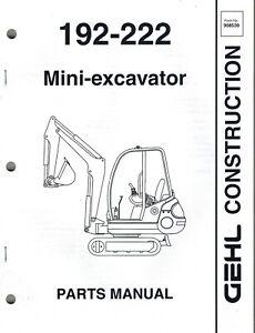 GEHL 192 222 MINI-EXCAVATOR PARTS MANUAL