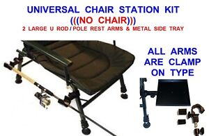 fishing chair no arms used lift chairs 2019 universal carp station kit side tray 2 rod pole image is loading