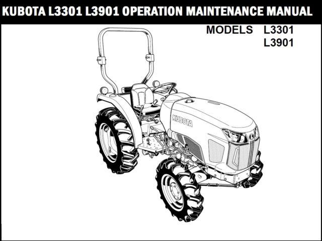 Kubota L3301 L3901 L4701 Tractor WSM Service Manual Owners