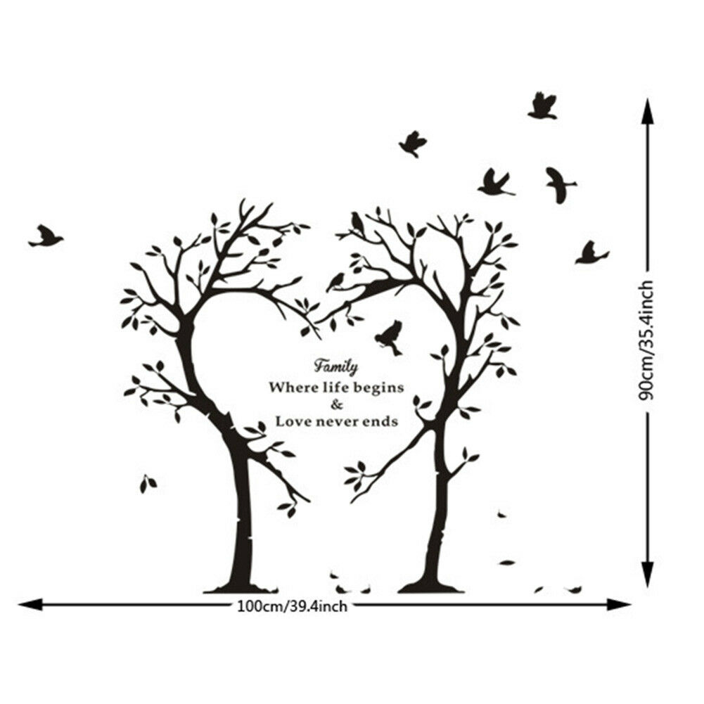 Family Love Tree Quote Wall Stickers Living Room Removable