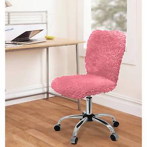 Desk Chair Faux Fur Rolling Task Student Dorm Teen Girls