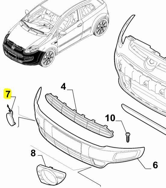 Genuine FIAT Abarth PUNTO EVO Front Bumper Towing Eye